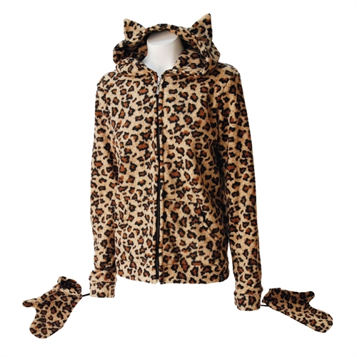 Darkside - Leopard Kitty Hood Fleece-Jacke
