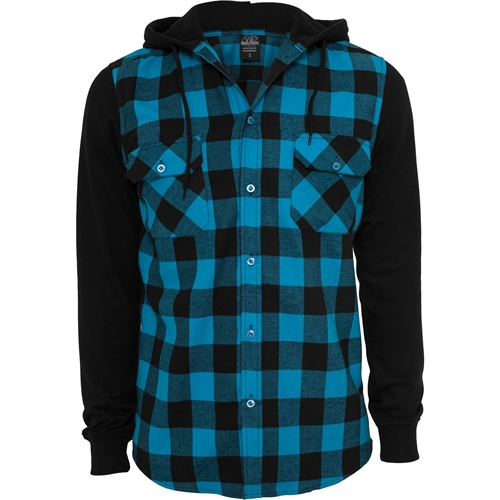 Urban Classics - Checked Flanell Sweat Sleeve Shirt, Hemd