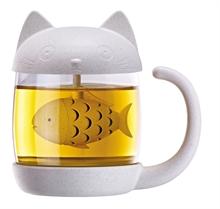 Katze - Teebecher mit integriertem Tee-Ei