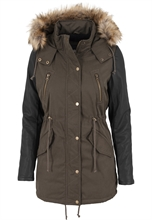 Urban Classic - Leather Imitation Sleeve, Girl-Parkajacke
